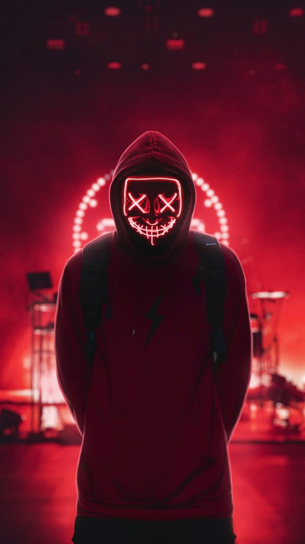 red led purge mask for halloween costume