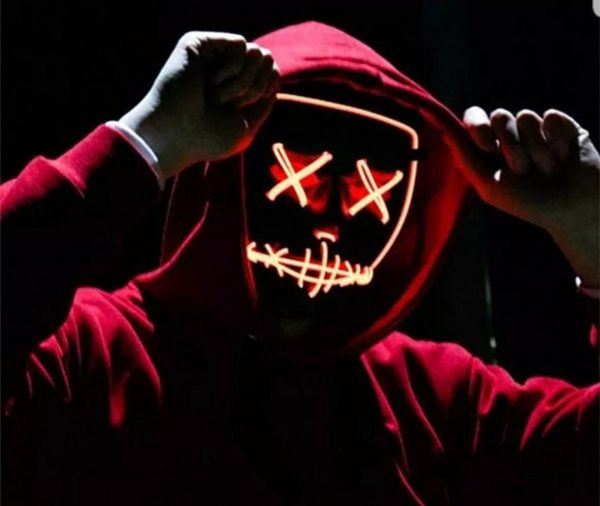 red purge mask in a hoodie