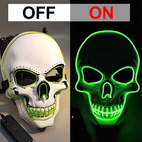 Green LED skull mask that light up