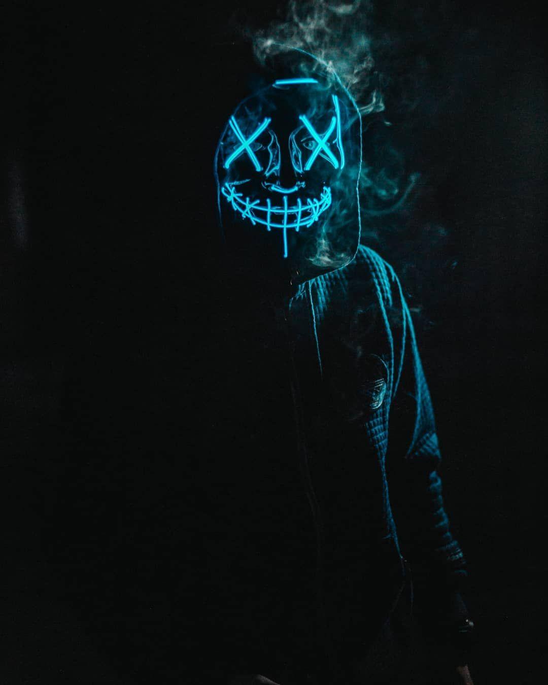 blue led purge mask wallpaper