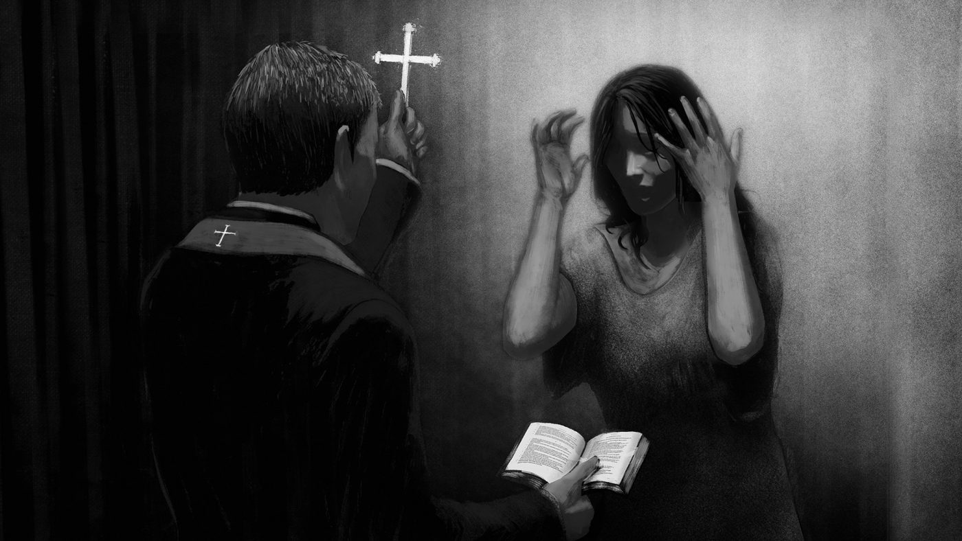 exorcism with a cross