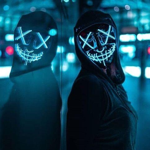 face mask blue led the purge horror