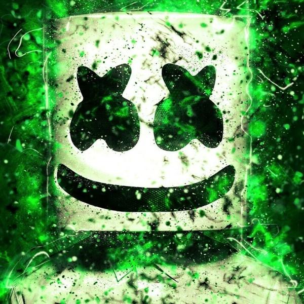 green marshmello mask wallpaper