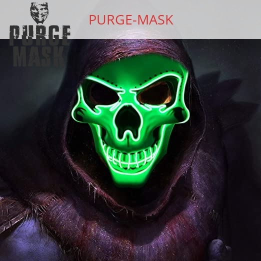 Purge Mask LED Skull Green With Neons Lights For The Party