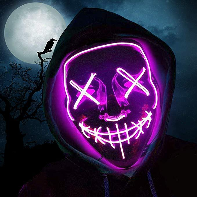 halloween outfit led purge mask pink