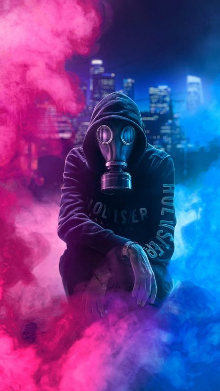 halloween purge gas mask wallpaper pink and blue