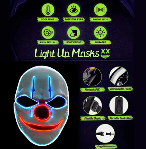 light up mask clown technical informations