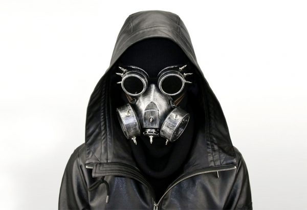 men with a silver purge gas mask