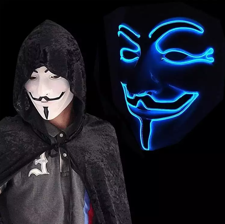 neon glowing blue v vendetta mask