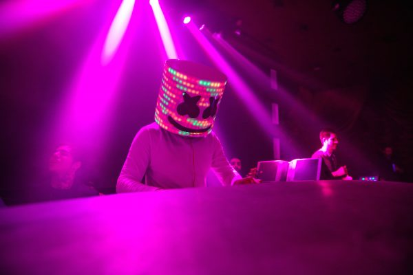 party with a led marshmello mask costume