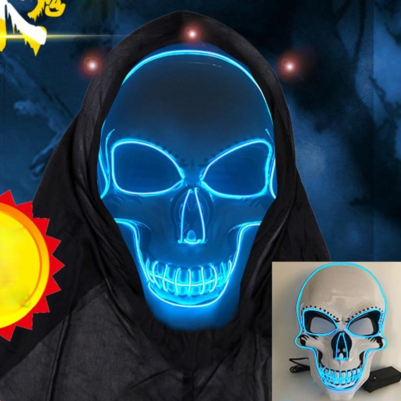 purge mask led blue skeleton