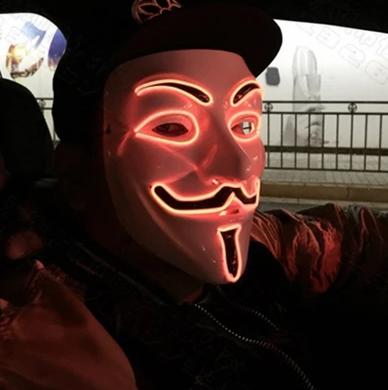 red led v is vendetta mask