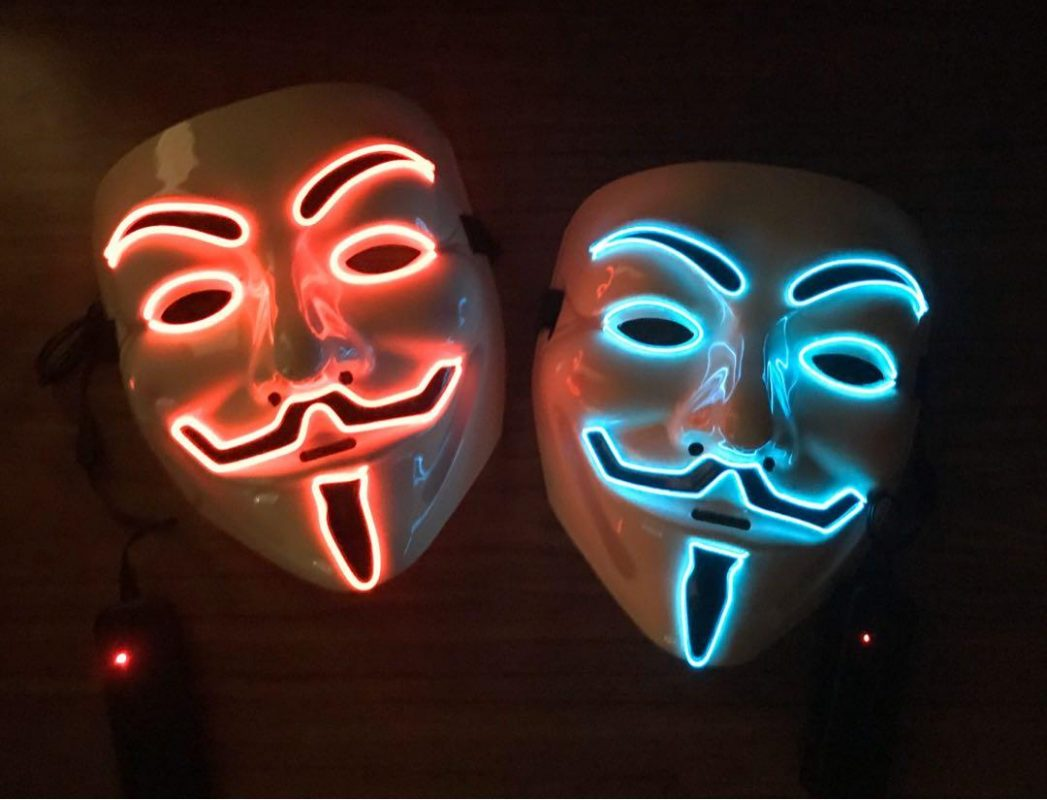 v for vendetta mask red led with remote controller