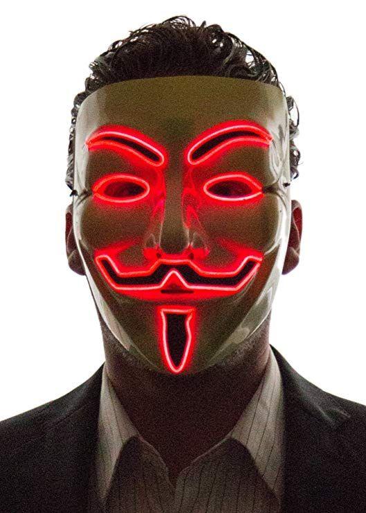 v for vendetta mask red lights