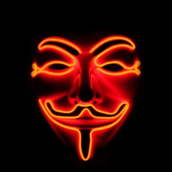 v is for vendetta mask red led
