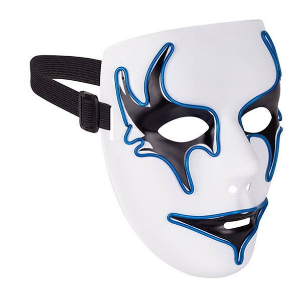 white ghost mask with blue led