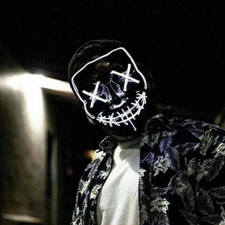 white led purge mask lighting up in the night